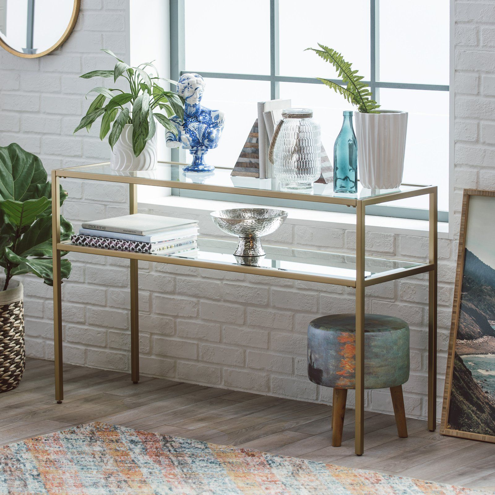 Belham Living Lamont Sofa Table Gold Modern Entry Table Sofa