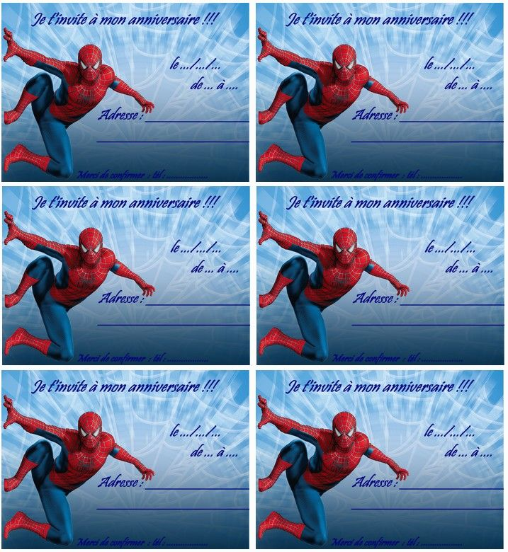 carte anniversaire spiderman 2 a