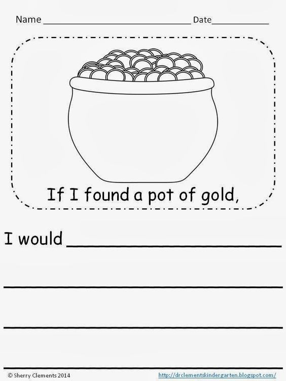 FREEBIE writingIf I found a pot of gold kindergarten 1st – 2nd Grade Writing Prompts Worksheets