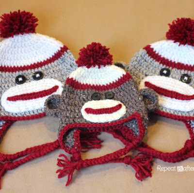 Crochet Sock Monkey Hat Pattern Crochet Baby Hats Headbands
