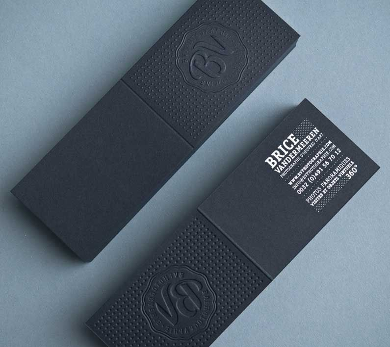 Black embossed letterpress folded business card visit httpwww the most awesome business cards ever made in here you will find 35 business cards featuring wide variety of concepts and designs reheart Image collections