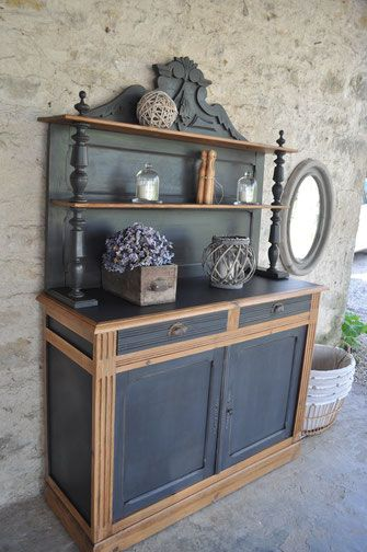 tres joli st hubert patin gris anthracite et sapin dor remis au gout du jour par les patines. Black Bedroom Furniture Sets. Home Design Ideas