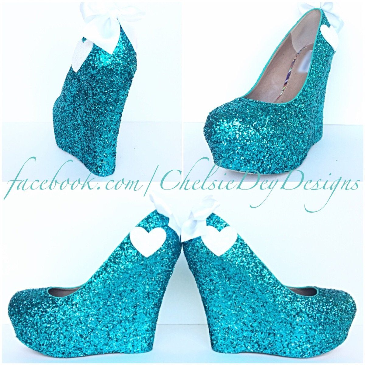 Teal Wedge Glitter Pumps f8d8a27bfe78