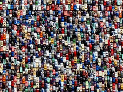 A mural made of 22,000 Hot Wheels cars in Stockton, Calif. So ...