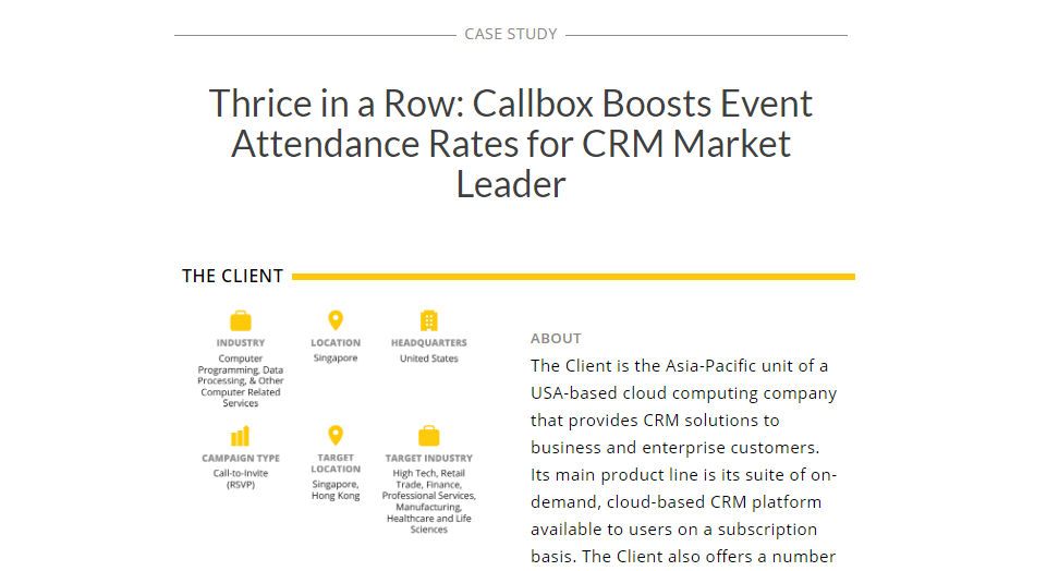 Callbox Boosts Event Attendance Rates For Crm Market Leader Case