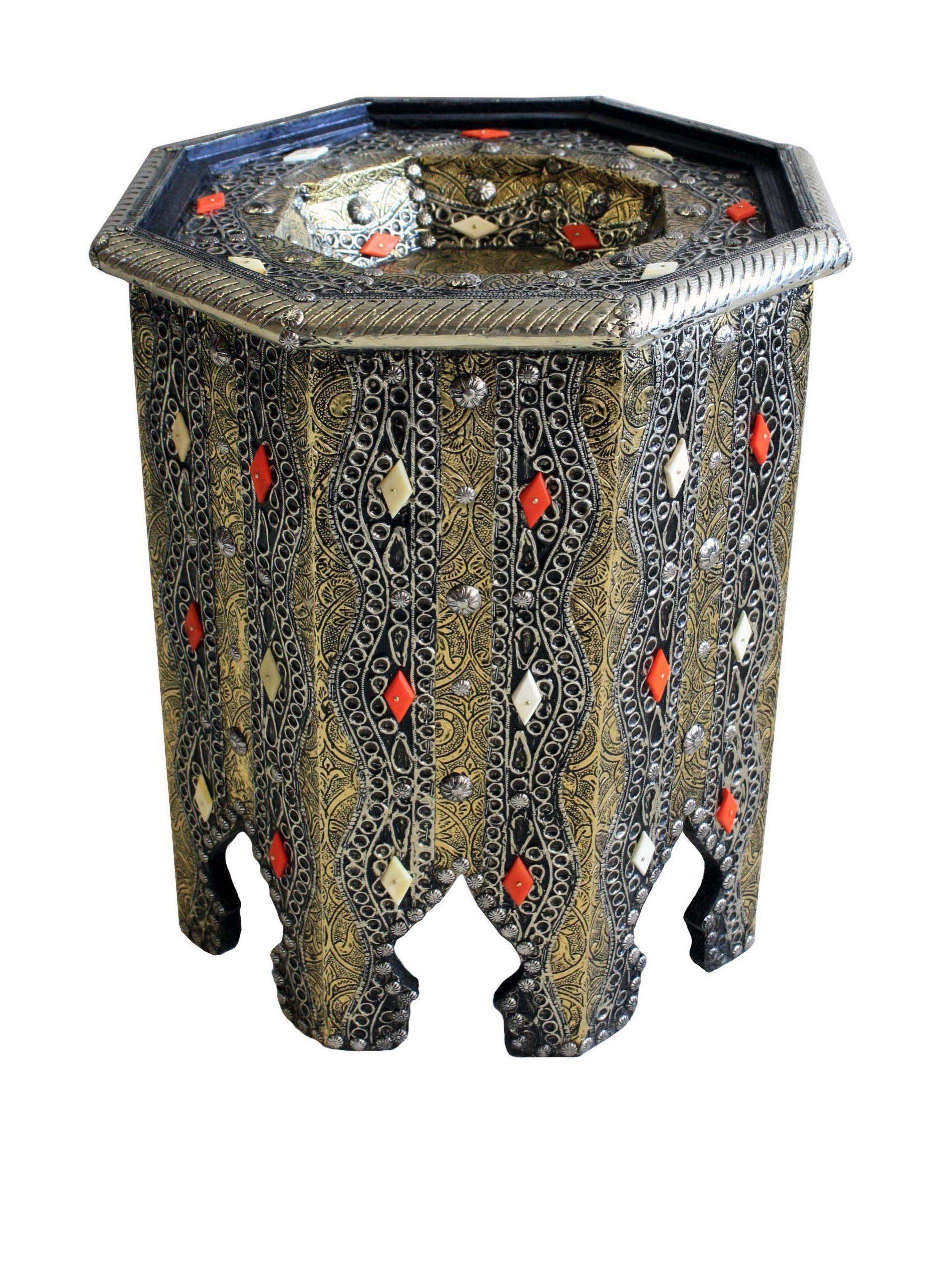 Badia Design Moroccan Metal & Bone Octagonal Side Table