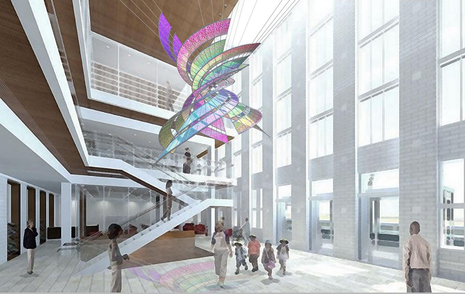 Suspended atrium clouds google search atrium spaces for Atrium design and decoration