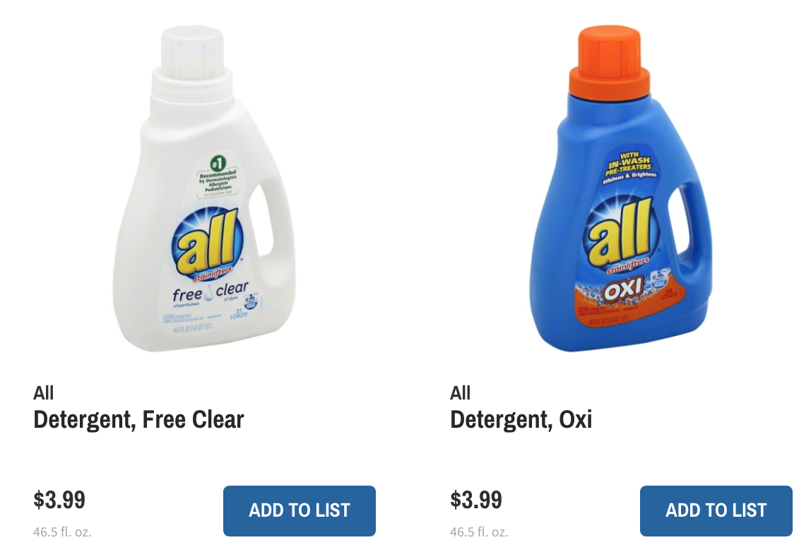 all laundry detergent only 199 at wegmans with new coupon