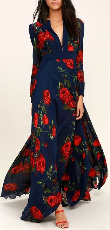 beb3ec281bf3c Blossom Navy Blue and Russian Red floral print maxi dress, masterfully  tailored, flowing, elegant dress. $136, a wardrobe builder. We love it.