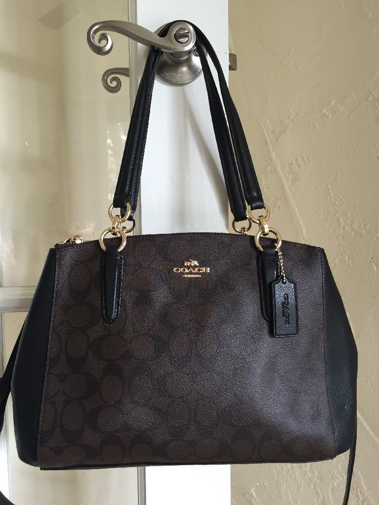 a9bf1beb3 Coach F36619 Signature Small Christie Carryall Brown & Black #Coach #Satchel