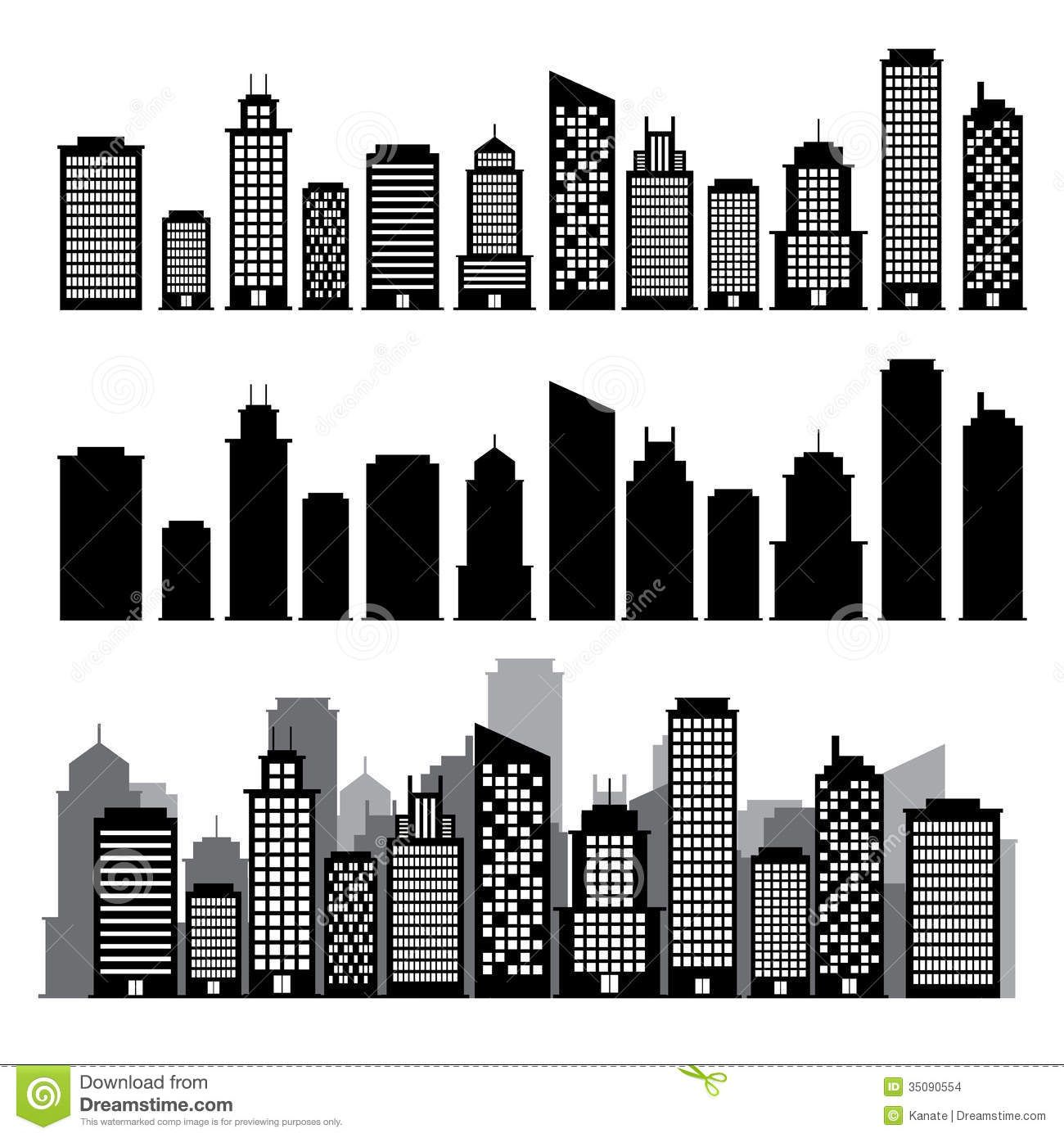 Building black white icon set illustration eps 35090554 for 2d building drawing