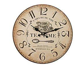 Reloj de pared de madera Tea Time