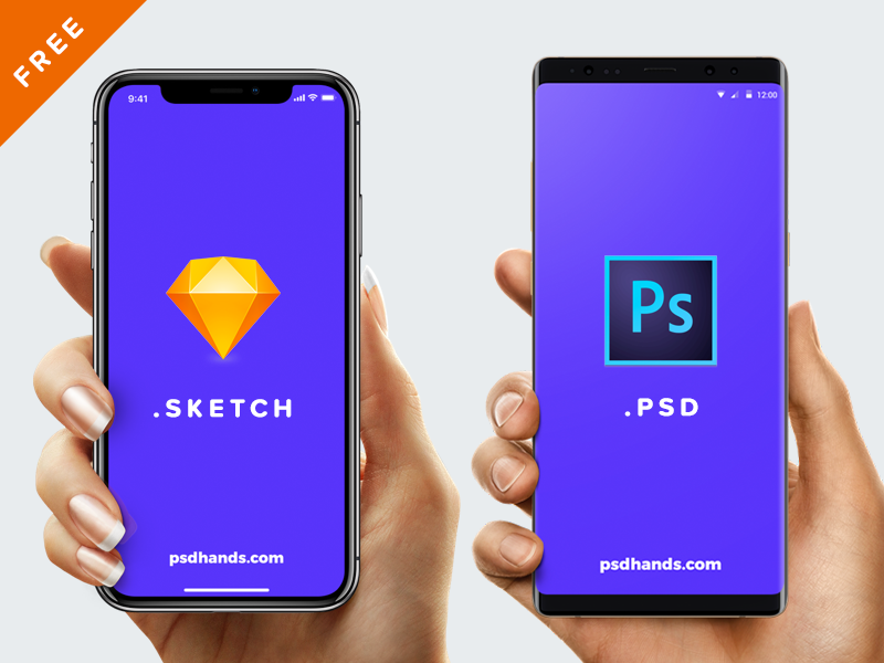 Hand With Iphone X 8 Android Free Mockup Psd Sketch Android Mockup Iphone Mockup Free Psd