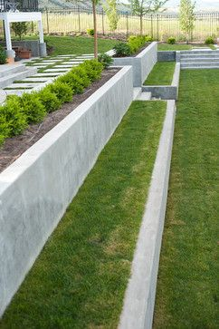 Modern Concrete Garden Retaining Wall Backyard Design Ideas Pictures Remodel And Decor