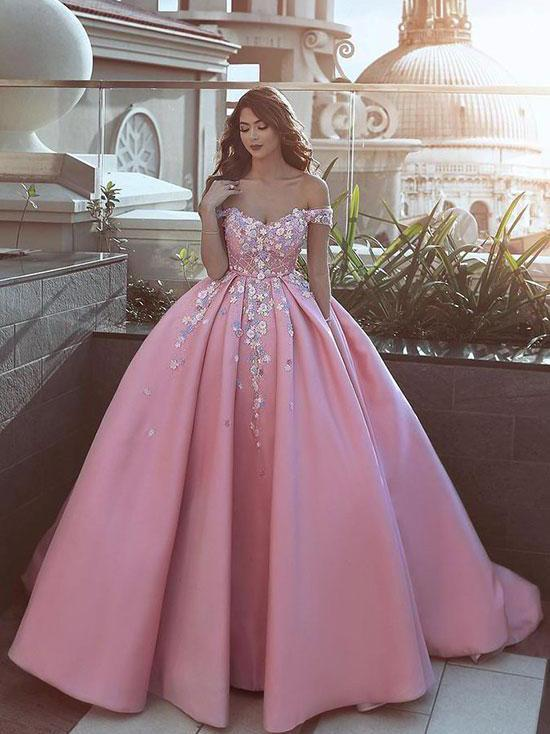 012ad496570 Ball Gown Prom Dresses Off-the-shoulder Sweep Train Satin Long Pink Prom  Dress JKL1137