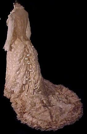 1876 Spectacular Lace Princess Bustle Gown of Lace and Silk Ornamental Balls! (back detail showing ball ornaments)