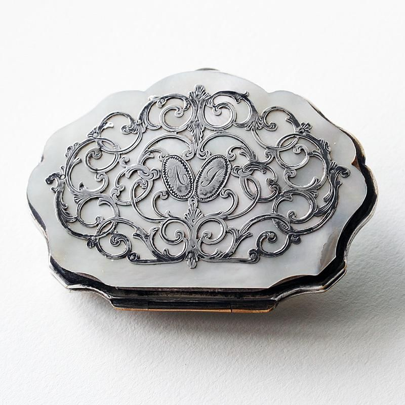 c.1880 French mother of pearl evening bag purse
