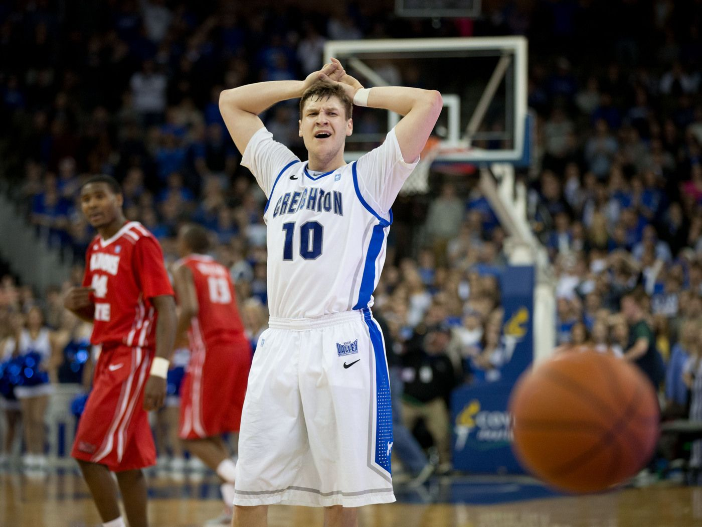 Creighton's Grant Gibbs (10) doesn't like the timeout call