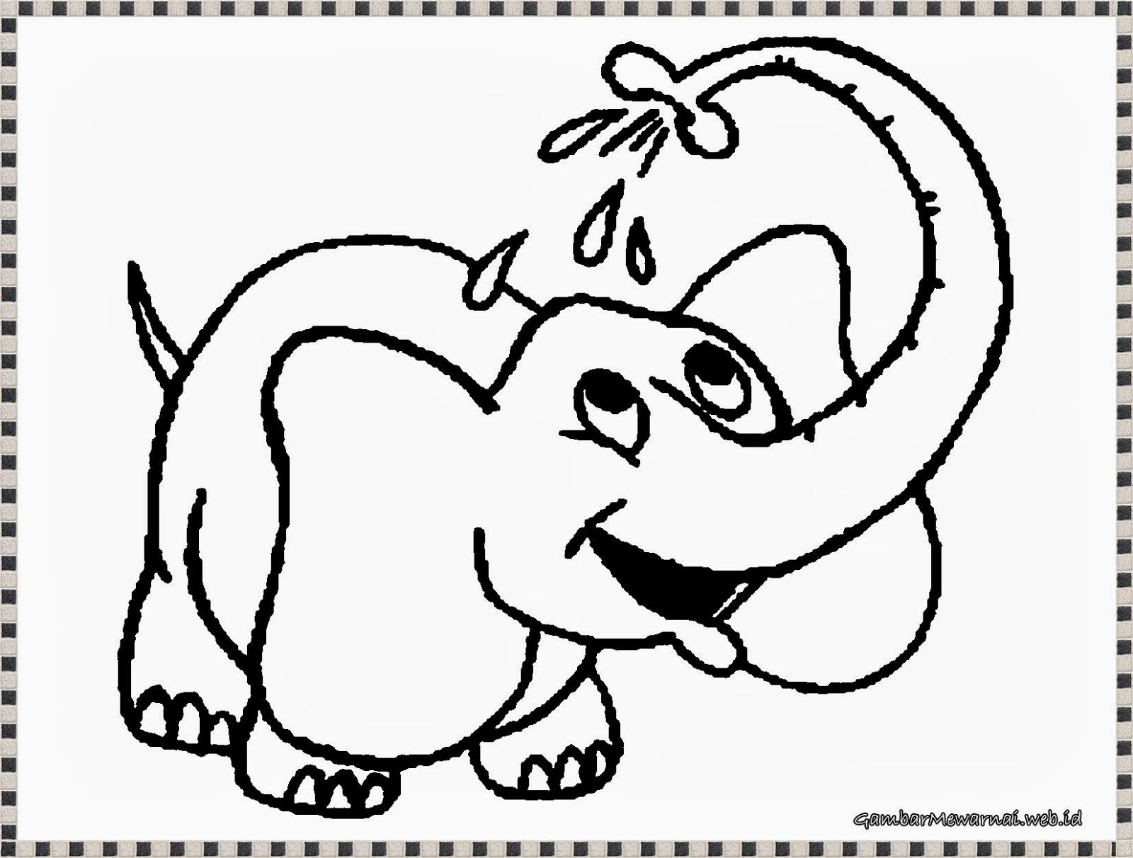 gambar mewarnai gajah sedang mandi