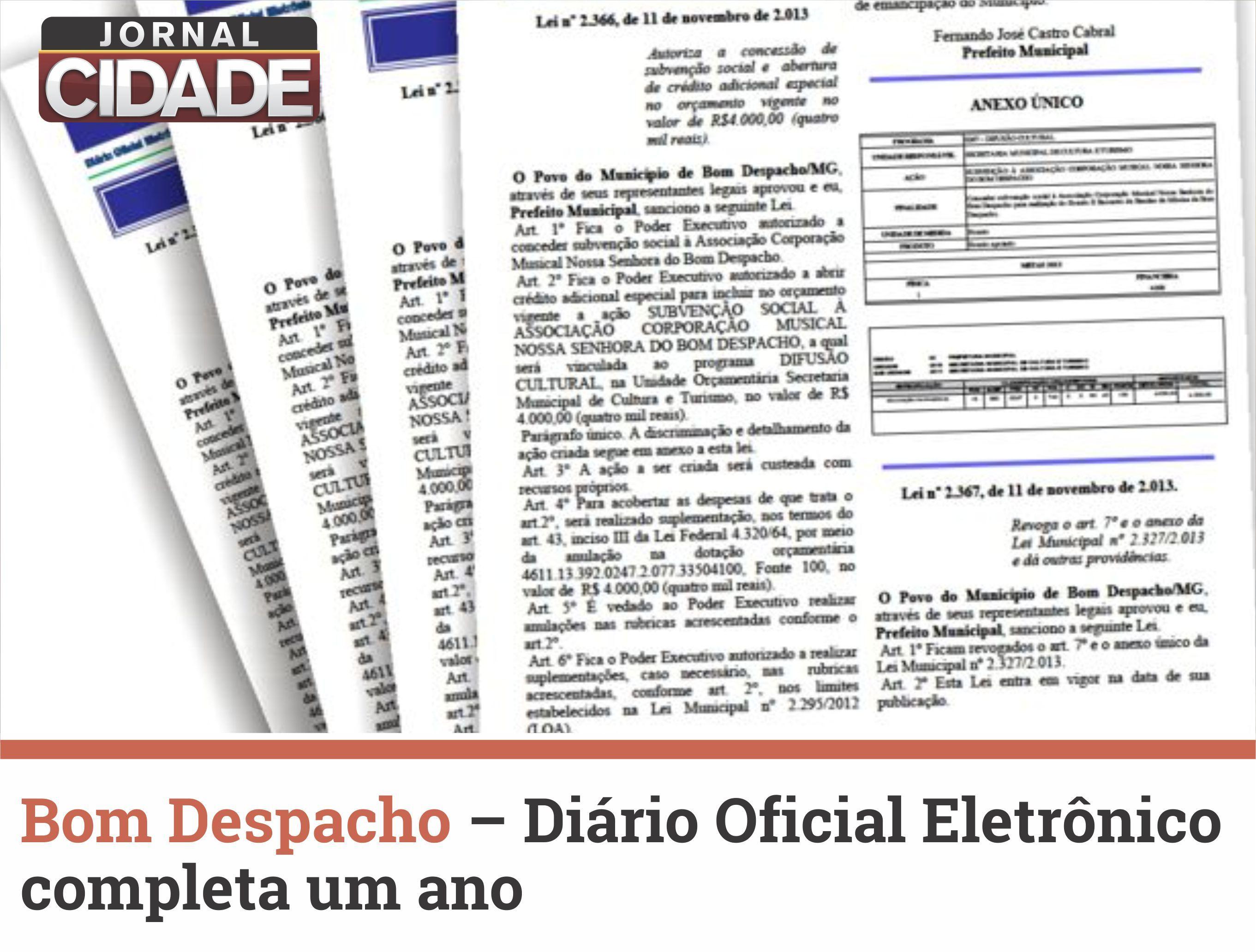 No dia 24 de Junho o Diário Oficial Eletrônico do Município de Bom Despacho (DOMe) completará um ano. Saiba mais: http://goo.gl/ANpt2m