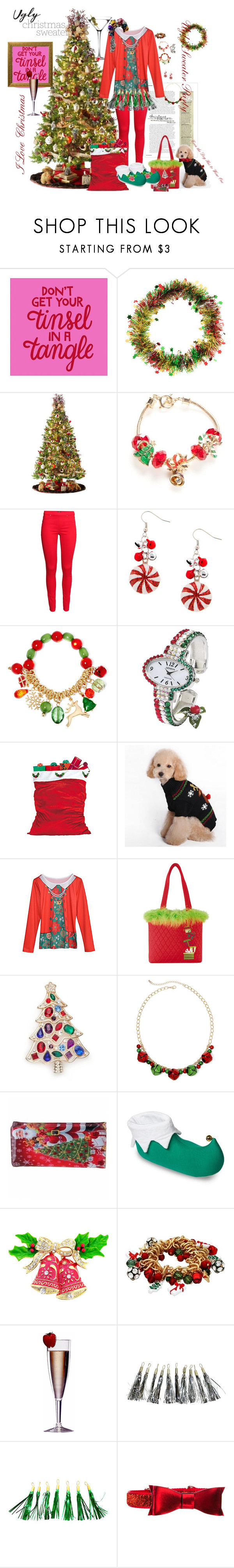 """""""I Love An Ugly Sweater Party"""" by sdpoodlemom ❤ liked on Polyvore featuring claire's, General Foam, Napier, H&M, Mixit, C & F and Kim Rogers"""