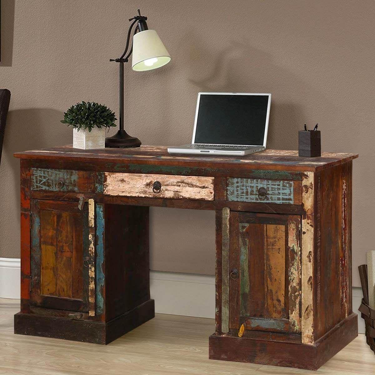 reclaimed office desk executive venus reclaimed wood office desk rh pinterest com