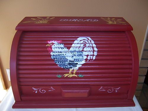 vintage solid wood bread box french country rooster kitchen storage