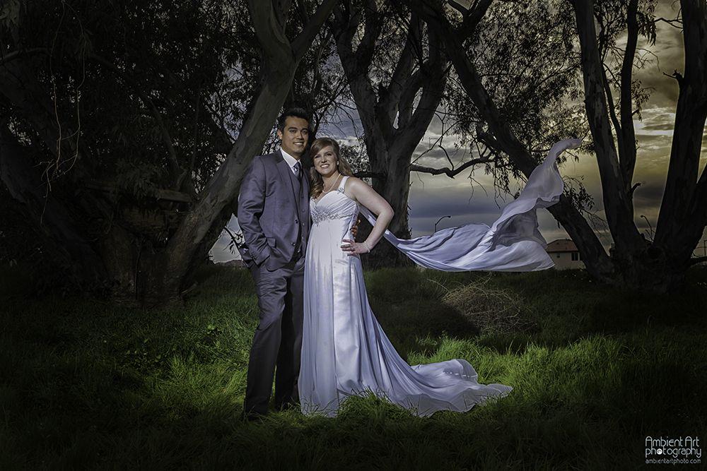 Wedding photography, bride groom, trees, field, sunset, flowers, dress, Vail, wind