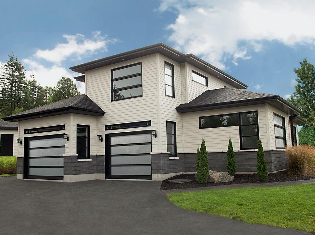 black garage door modern glasses porte de garage. Black Bedroom Furniture Sets. Home Design Ideas
