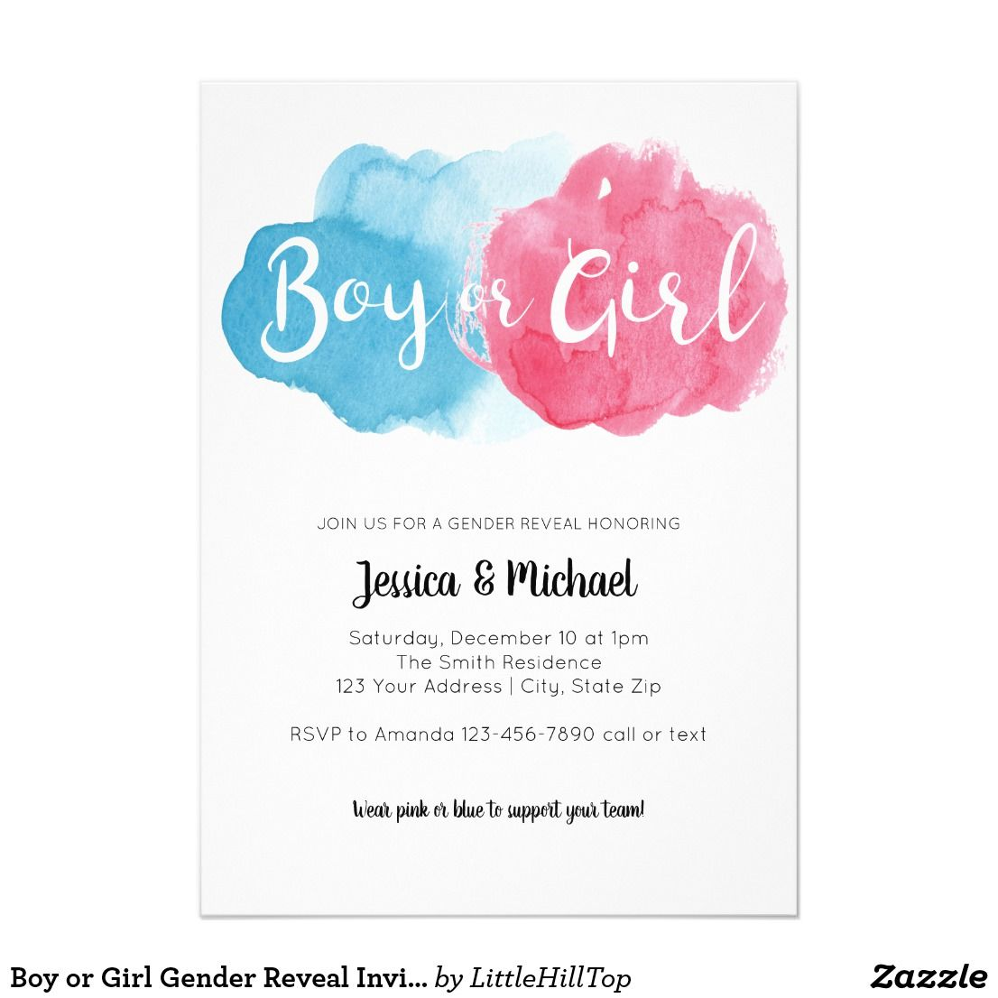 Watercolor Boy Or Girl Gender Reveal Party Invite Zazzle Com