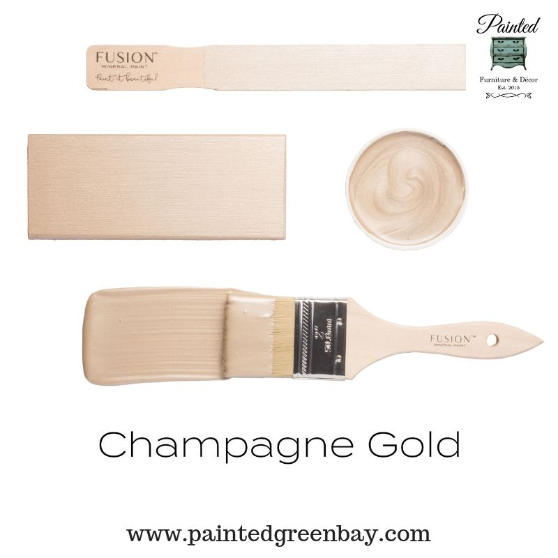 Fusion Mineral Metallic Paint  Champagne Gold is part of Gold painted walls, Metallic painted furniture, Gold paint colors, Bedroom paint colors, Metallic paint colors, Metallic paint - New Color!!! Get ready for the most beautiful gold as we welcome Champagne Gold to the metallic collection  This metallic paint is selfleveling and comes in 250ml containers or 37 ml tester size  Fusion is zero VOC paint created for exceptional coverage, stunning color and superior durability  To learn more about Fusion products, please set …