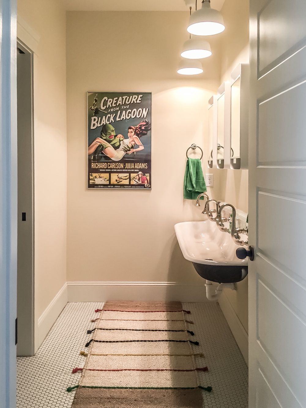 boys bathroom with kohler brockway sink and cannock faucets ikea gunnern mirrors and ikea ranarp pendant lights white hexagon tile floor with ikea tilst