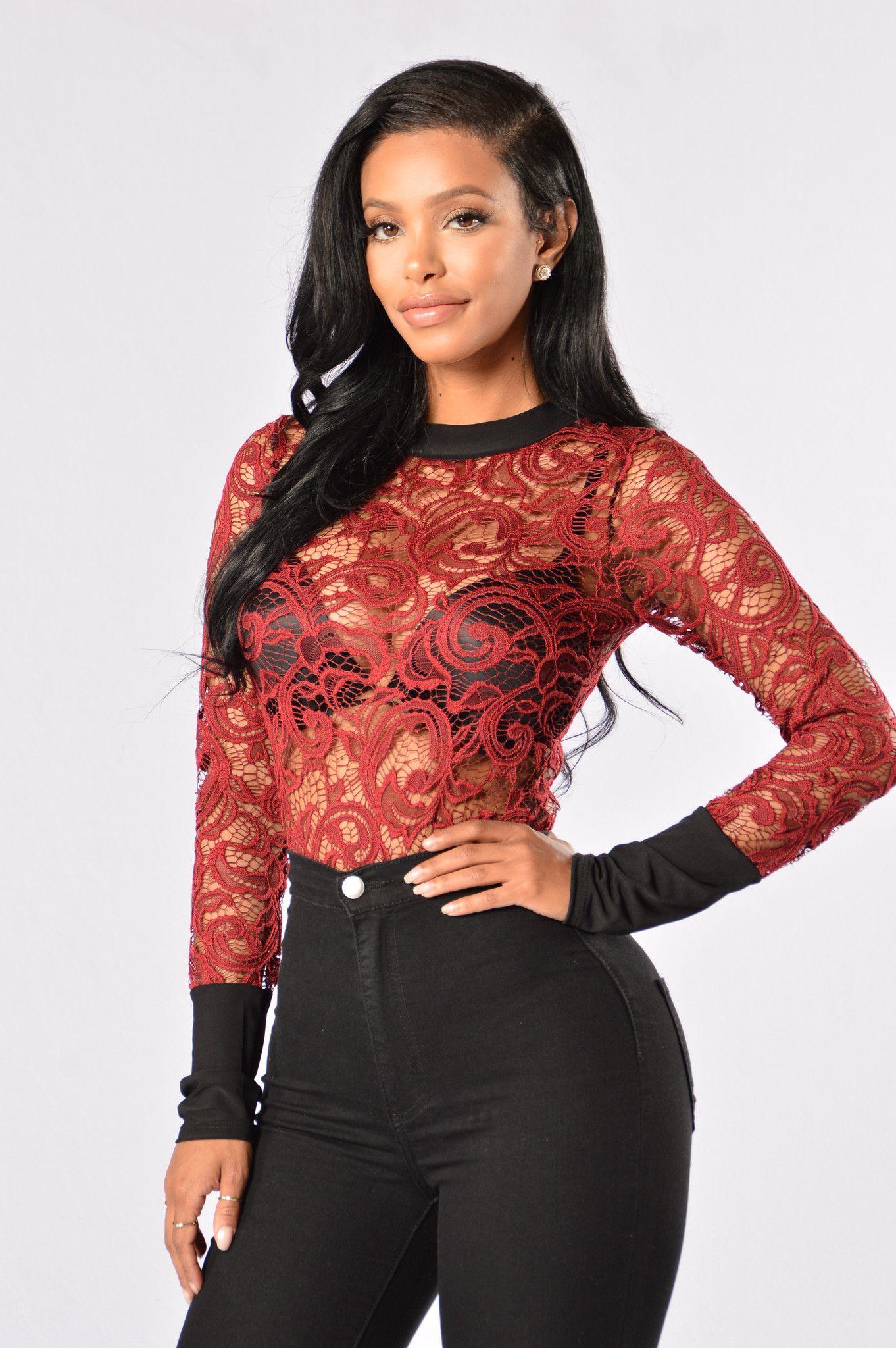 Sure Romance Bodysuit Burgundy Fashion, Lace bodysuit