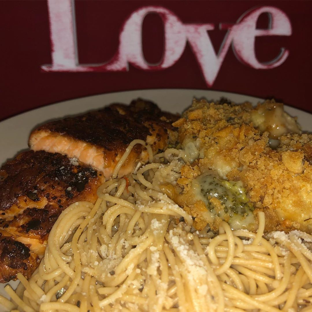 Dinner is served... salmon, broccoli amp; cauliflower casserole, and angel hair pasta tossed with EVOO/garlic and homegrown tomatoes. rdymixguy baked the bread to set it off!