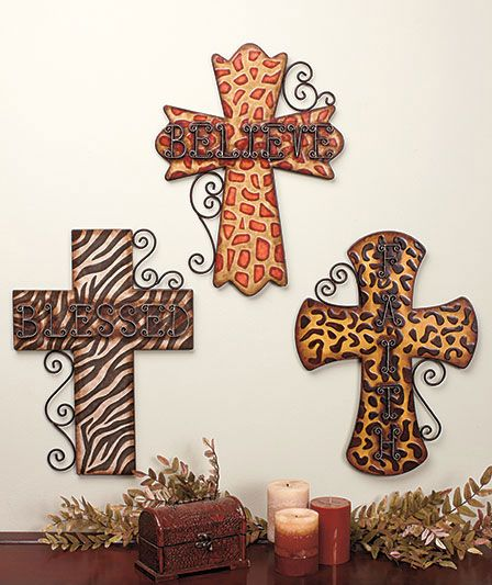 """Leopard Print Wall Decor details about blessed believe faith animal print 18"""" metal cross"""