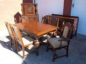 Carved Oak Dining Table 30 High 38 Wide 60 Long Extends To
