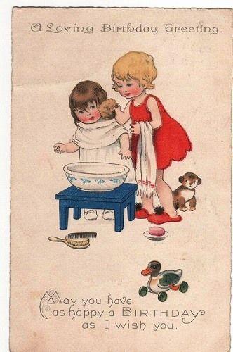 お顔を洗う女の子 childrens illustrations holiday postcards postcard