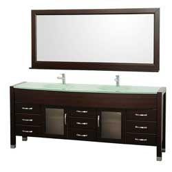 "78"" Daytona Double Bathroom Vanity Set - Espresso w/ Drawers #vanities #HomeRemodel #BathroomRemodel #BlondyBathHome #Freestanding"