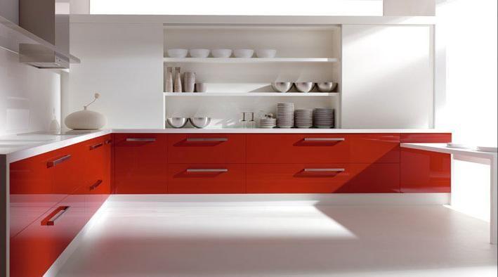 Cocina roja y blanca new house pinterest house for Cocina blanca encimera roja