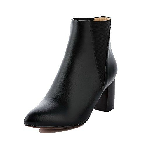 AmoonyFashion womens Cow Leather KittenHeels Round Closed Toe PullOn LowTop Boots BlackThread 37 ** Check out this great product.