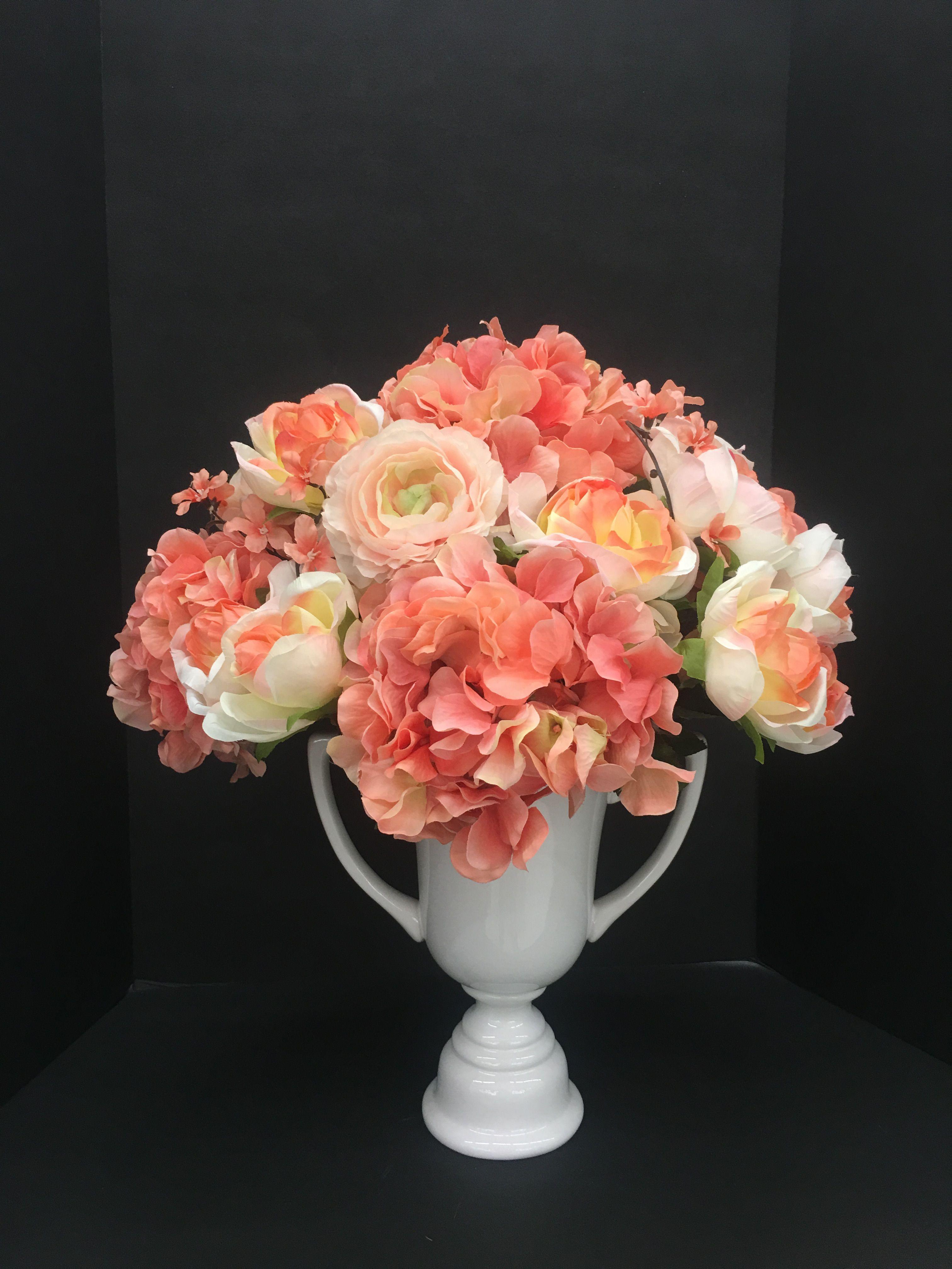 Silk flower arrangement Coral hydrangea bouquet White