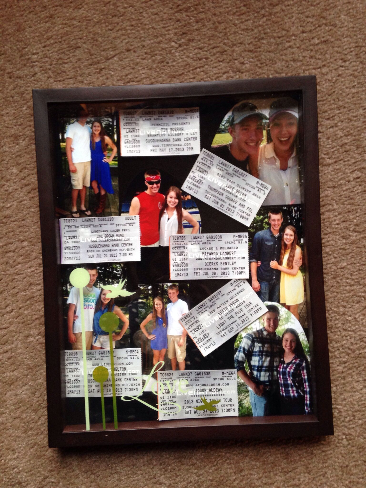 Made a collage of photos in a shadow box from our country megaticket