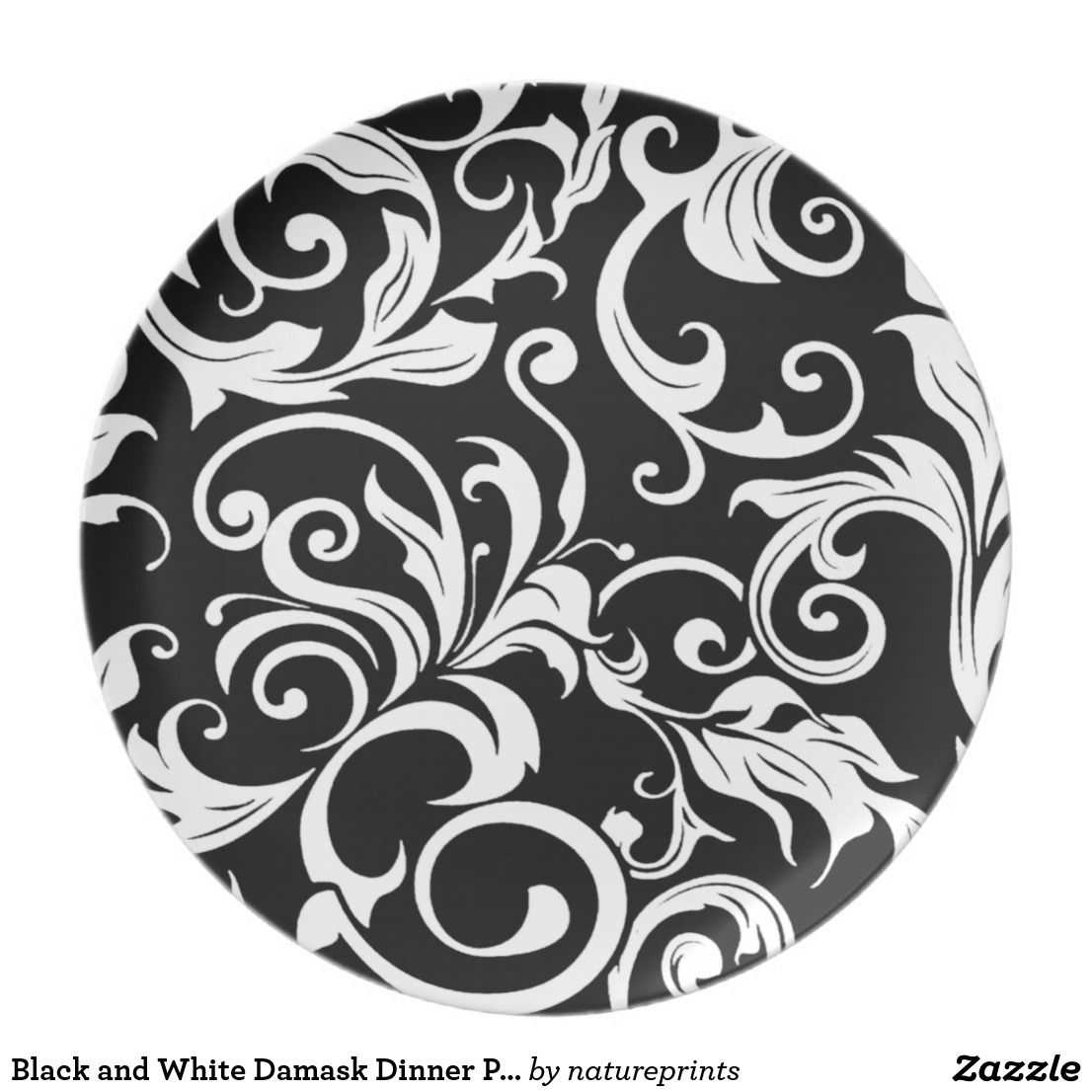 Black and White Damask Dinner Plates  sc 1 st  Pinterest & Black and White Damask Dinner Plates | White damask and Damasks