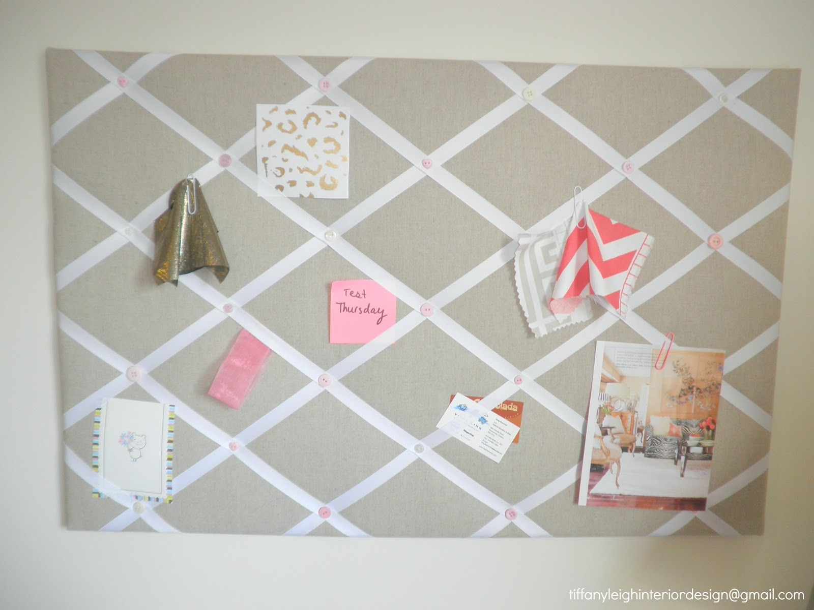 Tiffany Leigh Interior Design DIY Ribbon And Linen Pinboard