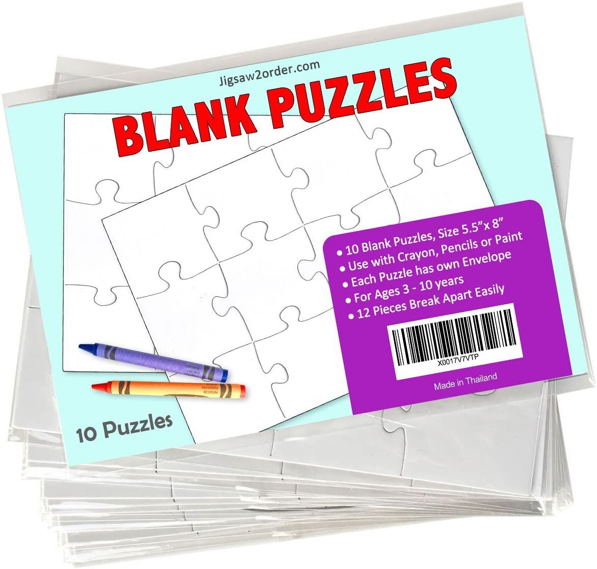 Jigsaw2order 12 Piece Blank Puzzle Craft Activity Pack Of 10 Puzzles Size 55 X 8 With Individual Puzzle Crafts Craft Activities Blank Puzzle Pieces