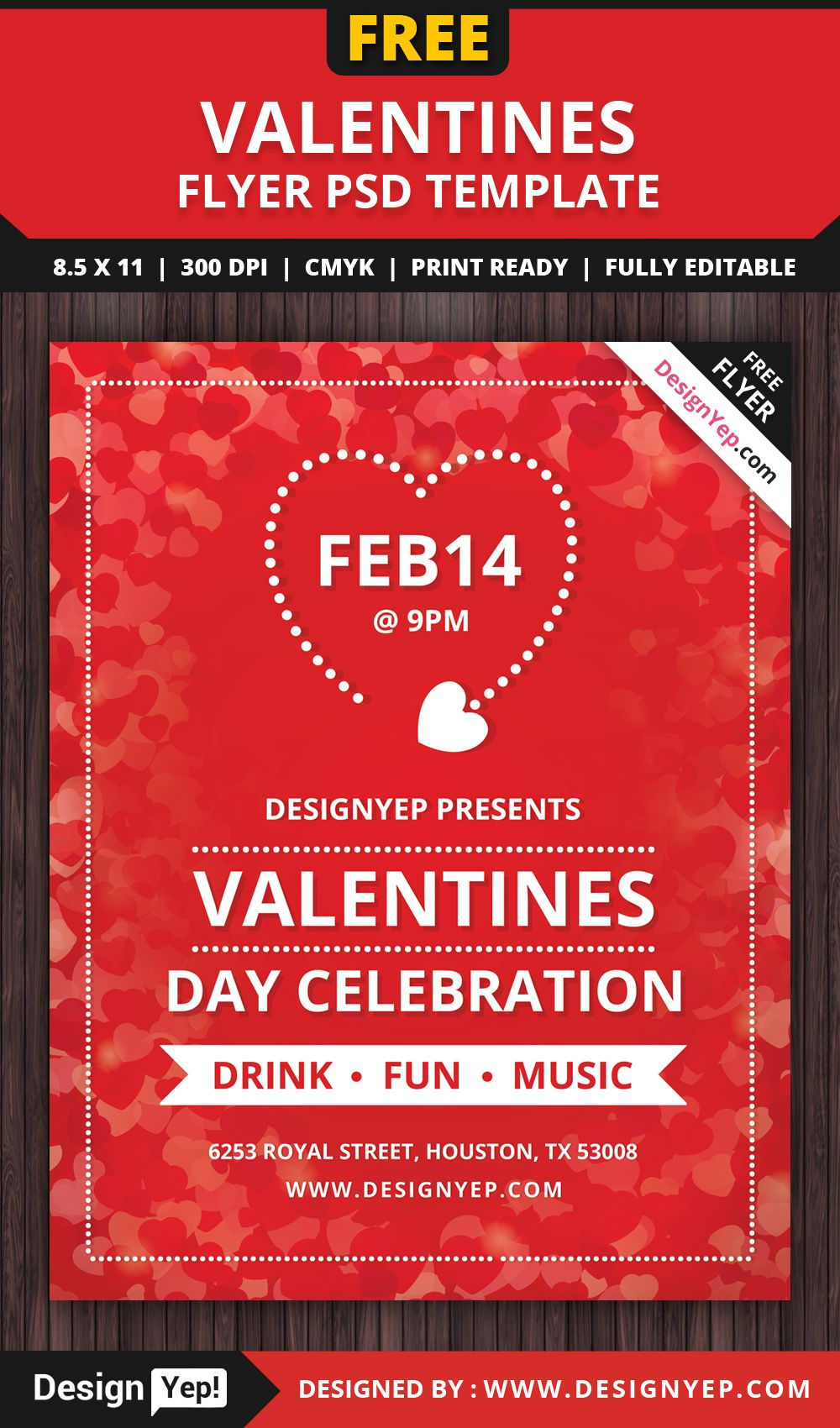 Valentines Day Flyer Free PSD Template | Free Flyers | Pinterest