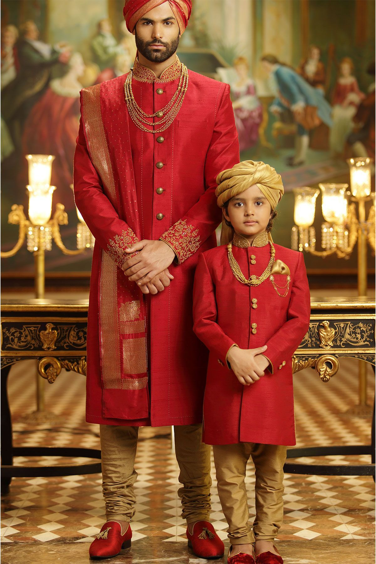 Red raw silk zardosi embroidered wedding sherwanish sherwani