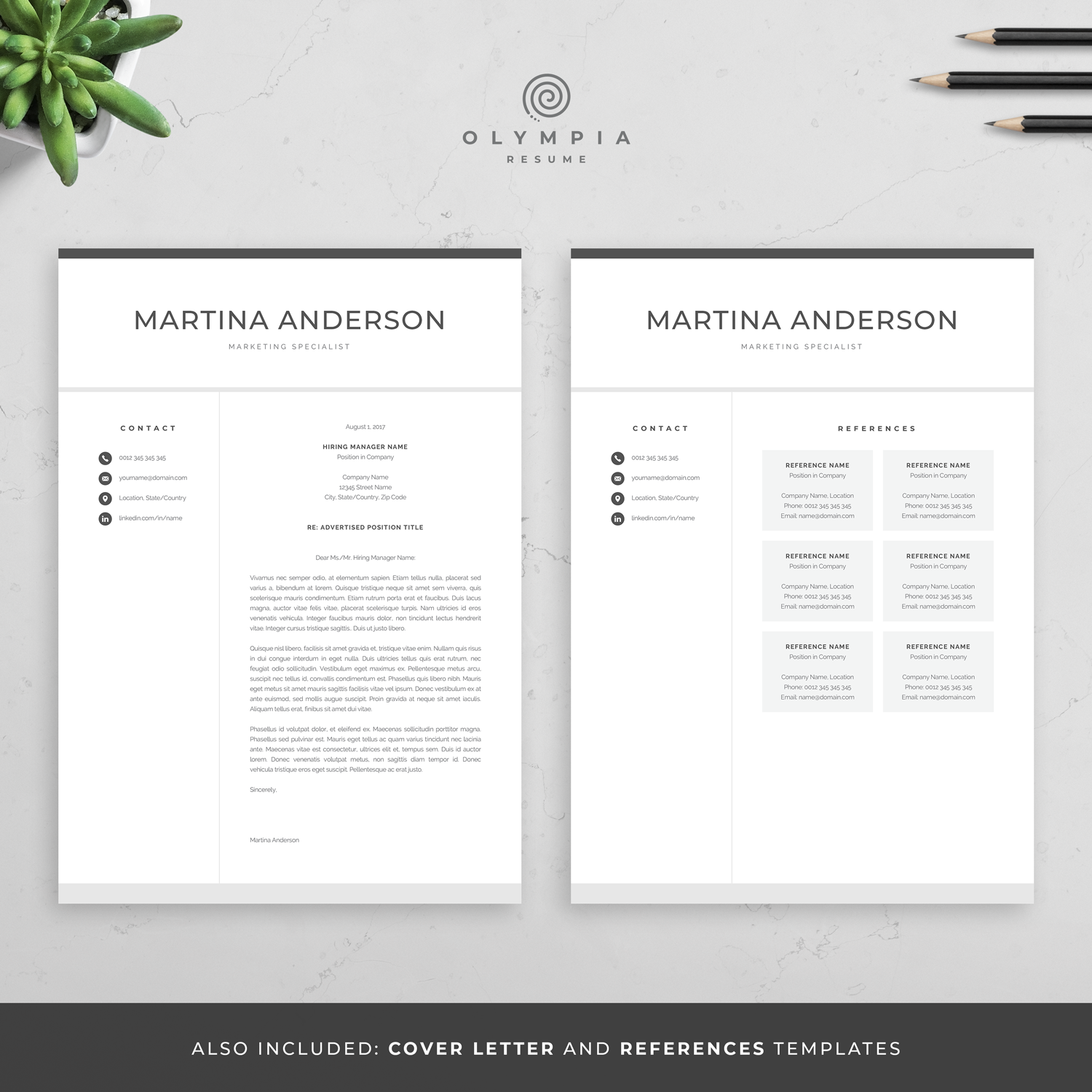 Modern Resume Template | Professional CV Template for Word ...