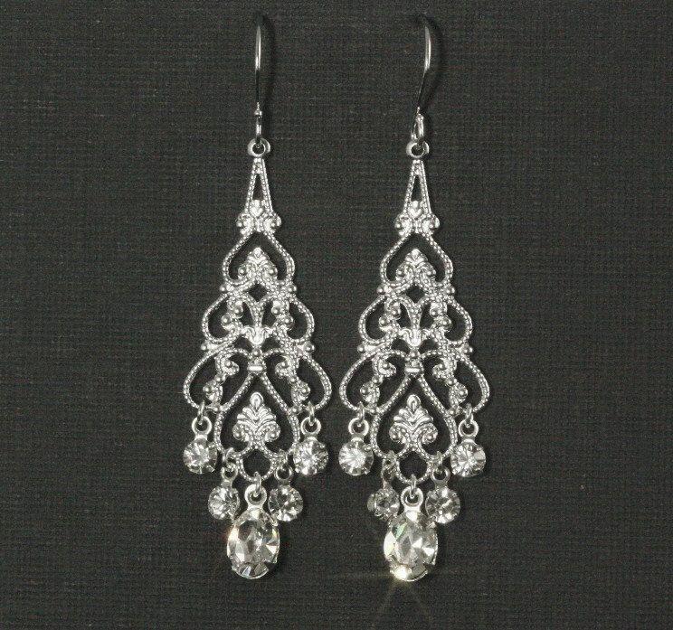 Rhinestone Chandelier Earrings Chandelier Bridal Earrings