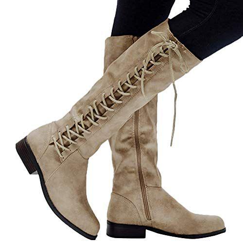 ORANDESIGNE Damen Klassische Stiefel Weiche Flache Schuhe